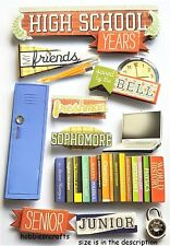 Paper house 3-D glitter stickers-casier portable amis-high school years