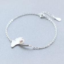 925 Sterlingsilber Damen Armband Armbänder Blatt Ginkgo Perle Silber Filigran