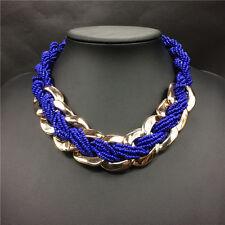 Purple Multi Layered Beaded Gold Tone Chain Statement Choker Necklace UK Shop