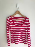 Hollister Ladies Cotton Soft Thin Cotton Long Sleeved top med 12 Pink and white