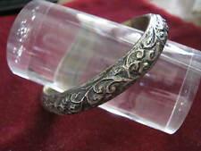 """1925 Heavy 800 Silver Carved Bangle Bracelet MOROCCO RAM'S HEAD HALLMARK 2 3/8"""""""