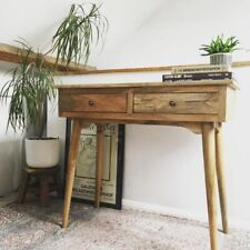 Scandinavian Style Desk / Hall Console With Two Drawers & Mid Century Legs