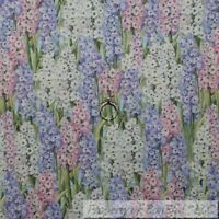 BonEful FABRIC FQ Cotton Quilt Purple Pink Green Leaf Lilac Flower Spring Easter