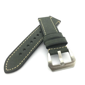 Dark Green Leather Watch Strap Panerai Style (Steel, 22mm, 24mm)