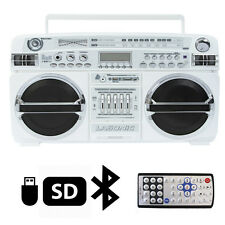 Lasonic i-931BTQ WHT Portable Blaster Boom Box Stereo Bluetooth/USB/SD/AUX/AM/FM