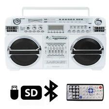Lasonic i-931BTQ WHT Portable Blaster Boom Box Stereo Bluetooth/USB/SD/AUX/AM/FM