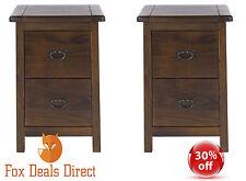 Bedside Cabinet PAIR Of Dark Wood 2 Drawer Petite Boston Bedroom Furniture Range