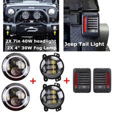 """7"""" 40W LED Headlight+ 4"""" 30W Fog Lamp+ Rear Tail Light Kit For Jeep JK Wrangler"""