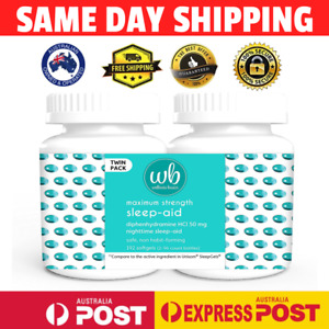 Wellness Basics Sleep AID 50mg 192 Softgels Twin Pack MELBOURNE AU
