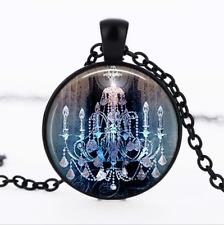 Gothic Chandelier Black Glass Cabochon Necklace chain Pendant Wholesale