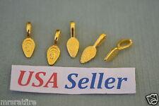 25 Glue-On Pendant Bails, 24K Gold Plate, Aanraku Style, Jewelry Making, USA !