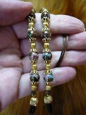 #E-66-42) Brown Cloisonné Eyeglass leash holder gold necklace Wow