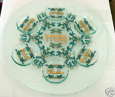 SPECIAL LEAVES  PASSOVER ROUND GLASS PLATE