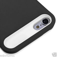 Apple iPod Touch 5 Hybrid Dual Layer Skin Cover Wallet Case Black White