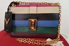 VALENTINO B- Rockstud Striped Leather Shoulder Bag MULTI COLOR EXCELLENT