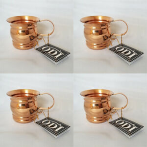 *NEW* 4- Unique ODI Solid Copper Moscow Mule Mug With Flat Handle16 oz. Set of 4