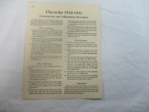 Chevrolet 1930-1931 Construction and Adjustment Procedure 1 Page