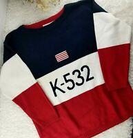 VINTAGE Vittadini Sport women american stripe sweater SIZE M cotton boat neck(M)
