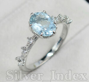 925 Sterling Silver Aquamarine Natural Oval Cut Gemstone Gorgeous Ring For Women