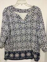 Kim Rogers Woman 3/4 Sleeve Tunic Top Navy Blue and White  2X VGUC