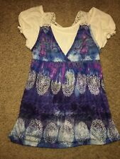 Girl's Justice White/ Purple / Blue / Black Short Sleeve Top  Size 14 Slim Fit