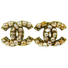 "Authentic CHANEL Vintage CC Logos Imitation Pearl Earrings 0.8 - 0.6 "" AK13085"