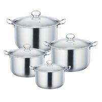 Stylish 4pc Stainless Steel Casserole Stock pot Set INDUCTION Cookware SILVER