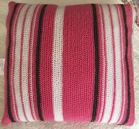 "SAK HOME THROW PILLOW CLASSIC Stripe Rose Pink White Taupe NEW 18x18"" Crochet"