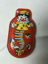 VINTAGE SQUEEZE CLICKER TOY TIN LITHO NOISE MAKER RED WITH JACK IN THE BOX CLOWN