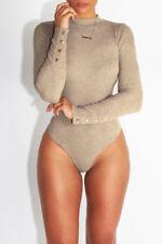 Womens Long Sleeve Shirt Romper Jumpsuit Bodysuit Stretch Leotard Tops Size S-XL