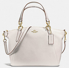 NWT Coach 36675 small Kelsey Pebble Leather Satchel handbag Chalk