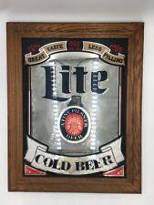 (Super Rare!) Vintage Miller Lite Cold Beer Wooden Frame Mirror Sign Made in Usa