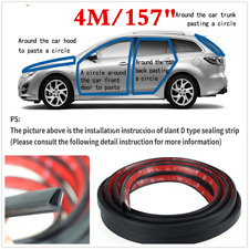 4M Sloping D Type Car Door Seal Strip Rubber Trim Edge Weatherstrip Soundproof