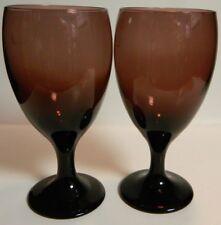 """Vintage Set of (2) Amethyst Art Glass Stemmed Glasses 7"""" x 3.13"""" Excellent Cond"""