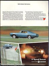 1967 PLYMOUTH BARRACUDA advertisement, blue 2-door fastback