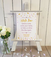 Personalised Wish jar guest book prompt wedding sign PINK AND GOLD design A4
