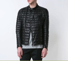 "New MSRP: $3800 Moncler Leather Down ""Russel"" Quilted Moto Jacket Black Size 3/M"