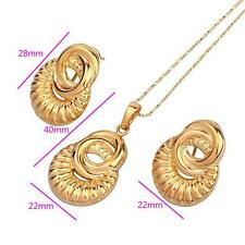 18k ct Yellow Gold Filled Ancient Royal Pendant Necklace Earring Set - L45cm