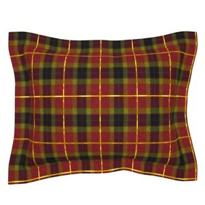 Red And Gol Plaid Christmas Tartan Gold Gilded Cosplay Pillow Sham by Roostery