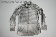 Wings and Horns W+ H Gray Stripe Boxed Shirt Button Up Cotton size Small