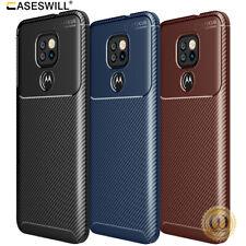For Motorola Moto E7 Plus Case Slim Carbon Fiber Shockproof Flexible TPU Cover