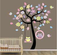 US STOCK Wall Sticker Owls on Swing Tree Kids Nursery Baby Children's Room decal