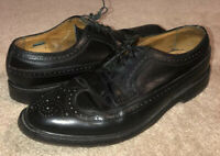 Florsheim Imperial Vintage Nail V Cleat Wingtip Oxfords Black Leather Men's 10 D