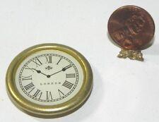 Dollhouse Miniature Clock Round Gold Vintage Style Minis 1:12 Scale