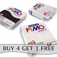 FIMO Soft Polymer Oven Modelling Clay - 57g - Set of 3 - White, Black & Grey