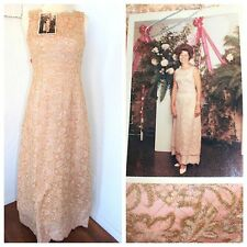 Vintage 50s 60s Custom STUNNING Pink Rhinestone Beaded Maxi Dress S Jewel SALE