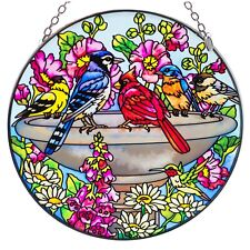 Summer Birdbath Cardinal Gold Finch Blue Jay Bird Glass Suncatcher By Amia 6.5""