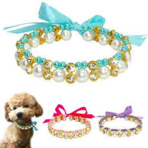 Pet Dog Collar Crystal Pearl Puppy Cat Necklace for Chihuahua Poodles Girl Dogs