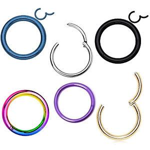 Nose Lip Ear Septum Surgical Steel Body Piercing Hinged Hoop Clicker Ring 6-10mm