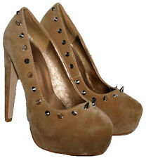 """LADIES 5"""" HEEL CAMEL FAUX SUEDE SLIP ON SHOE WITH A SPIKE STUD TRIM IN SIZE 3"""